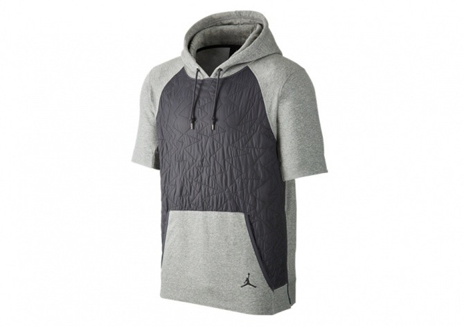NIKE AIR JORDAN VII PULLOVER QUILTED FLEECE HOODIE DARK GREY
