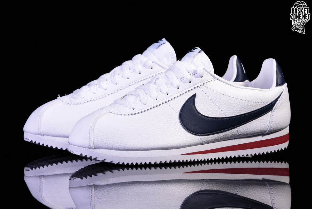 size 40 475ad 21fdb NIKE CLASSIC CORTEZ LEATHER WHITE MIDNIGHT NAVY-GYM RED
