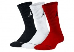NIKE AIR JORDAN JUMPMAN CREW SOCKS BLACK WHITE GYM RED