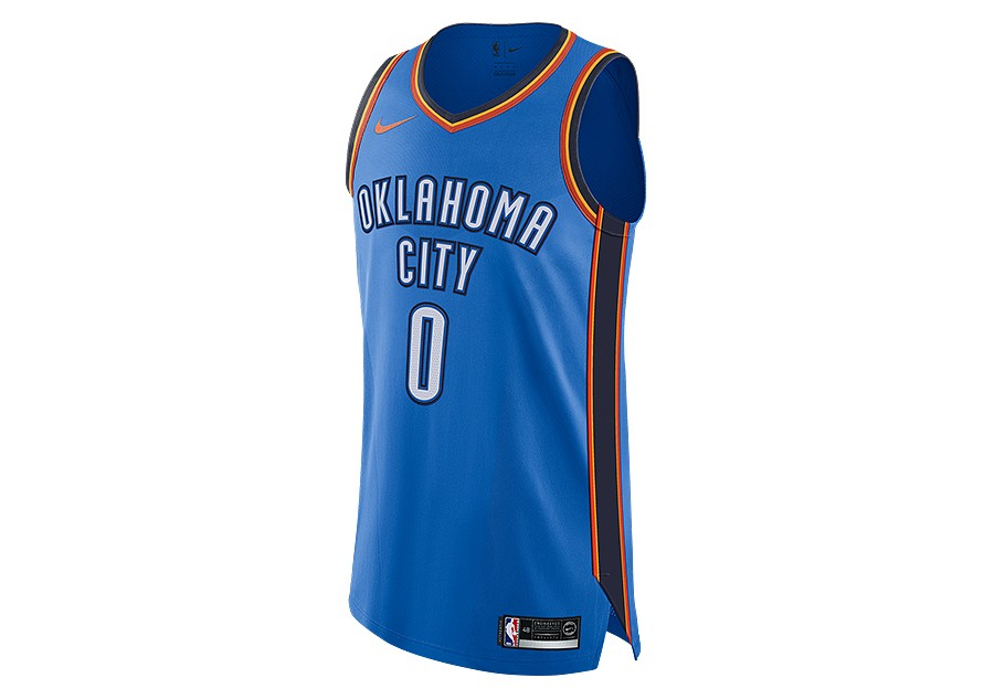 08b5fa79 NIKE NBA CONNECTED OKLAHOMA CITY THUNDER RUSSELL WESTBROOK AUTHENTIC JERSEY  ROAD SIGNAL BLUE