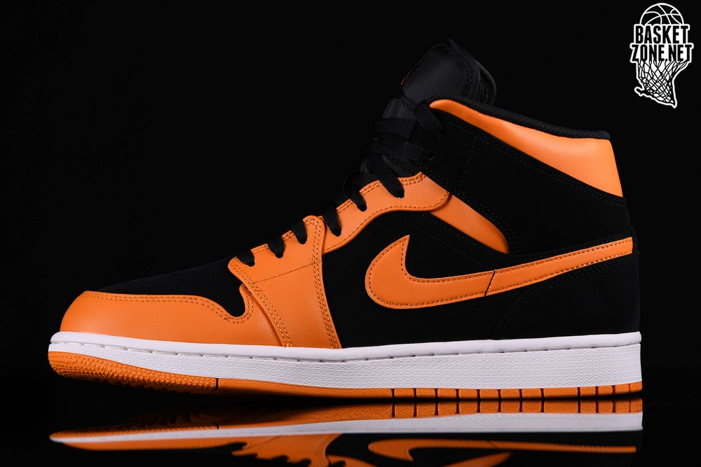 new style 07639 aa83e NIKE AIR JORDAN 1 RETRO MID BLACK ORANGE PEEL. 554724-081