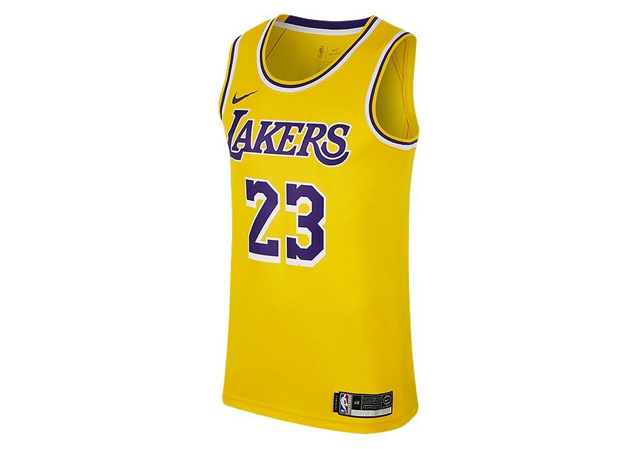 a08fe6cd4 NIKE NBA LOS ANGELES LAKERS LEBRON JAMES SWINGMAN ROAD JERSEY AMARILLO