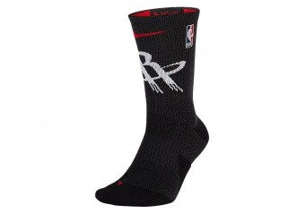 NIKE NBA HOUSTON ROCKETS ELITE CREW SOCKS BLACK