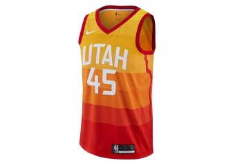 NIKE NBA UTAH JAZZ DONOVAN MITCHELL CITY EDITION SWINGMAN JERSEY AMARILLO