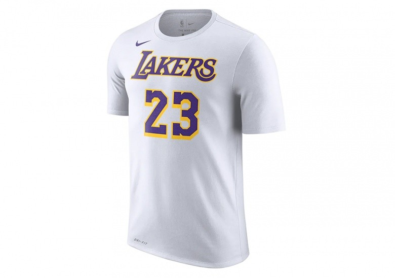 NIKE NBA LOS ANGELES LAKERS LEBRON JAMES DRY TEE WHITE