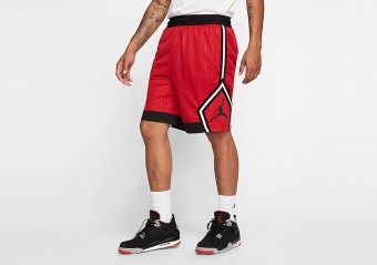 NIKE AIR JORDAN JUMPMAN DIAMOND STRIPED SHORTS GYM RED