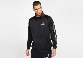 NIKE AIR JORDAN JUMPMAN CLASSICS TRICOT WARMUP JACKET BLACK