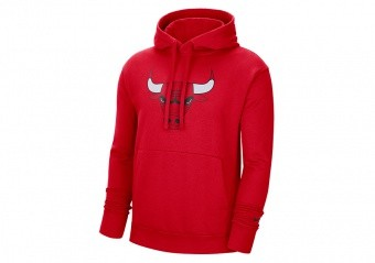 NIKE NBA CHICAGO BULLS ESSENTIAL FLEECE PULLOVER HOODIE UNIVERSITY RED