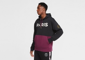 NIKE AIR JORDAN PSG PARIS SAINT-GERMAIN FLEECE PULLOVER HOODIE BORDEAUX