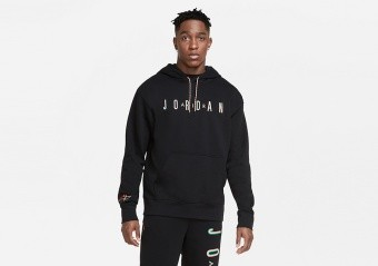 NIKE AIR JORDAN SPORT DNA HBR FLEECE PULLOVER HOODIE BLACK